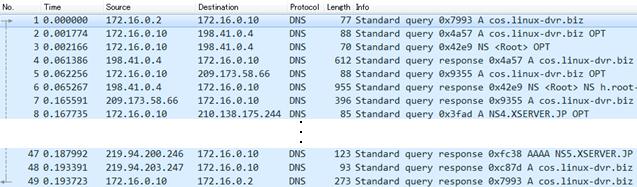 DNS反復問い合わせパケットキャプチャ